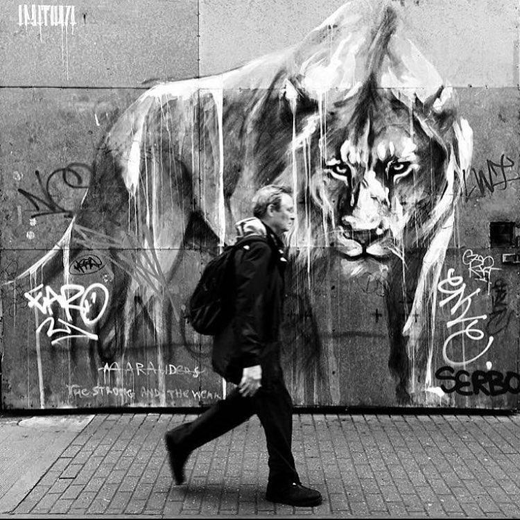 faith47 - street art - mosaic street art avenue - black and white - london