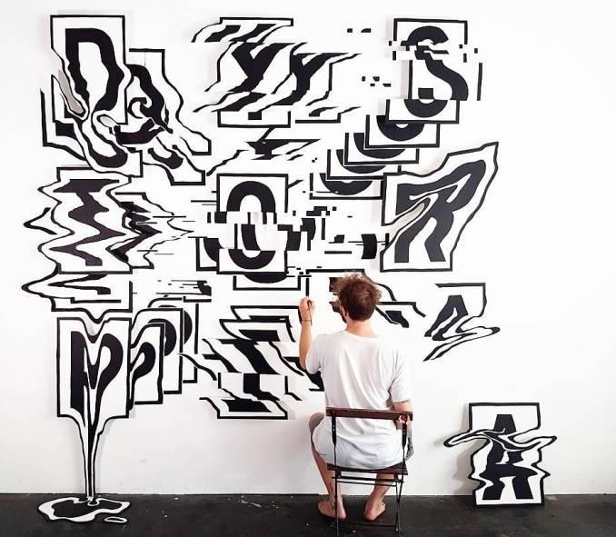 rylsee - street art - mosaic street art avenue - black and white - berlin